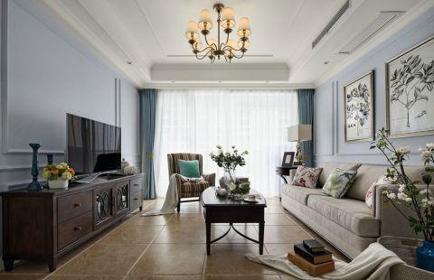 玉兰广场130平美式风格三居室装修效果图