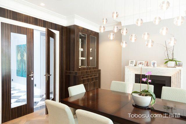 餐厅咖啡色橱柜现代风格装潢效果图