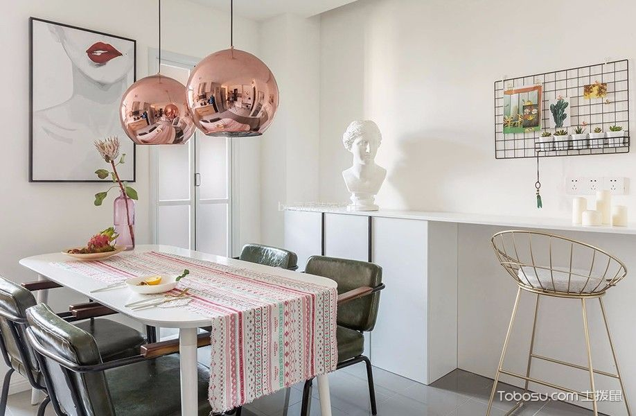 餐厅 餐桌_北欧风格90平米公寓室内装修效果图