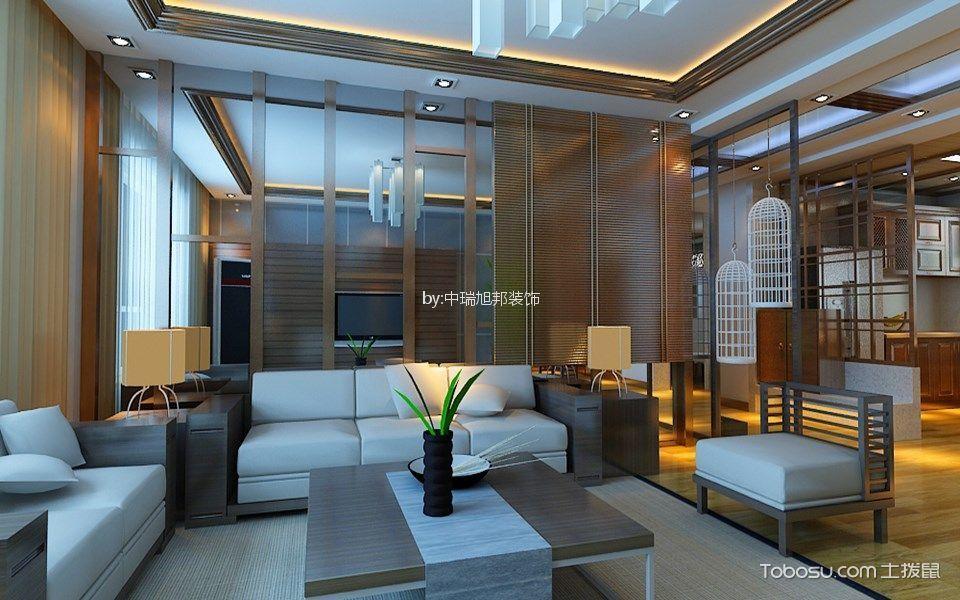 水墨林溪新中式风格三居室装修效果图