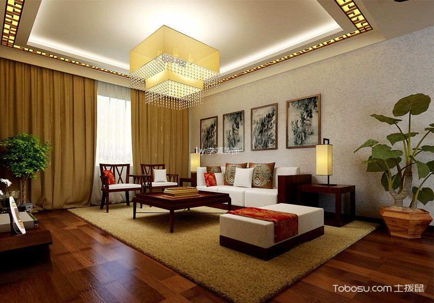 东海160平方新中式风格三室两厅装修效果图