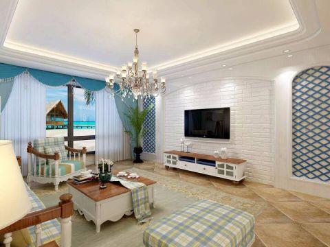 坤杰拉菲公馆138平米地中海风格三室两厅装修效果图