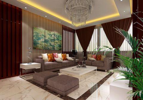 东方海逸豪园140平方现代中式三室两厅装修效果图