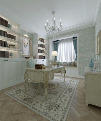 书房窗帘欧式风格装饰设计图片