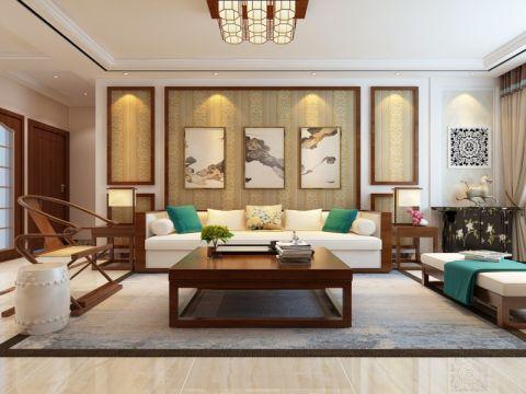 龍湖水晶酈城130平新中式風格三居室裝修效果圖