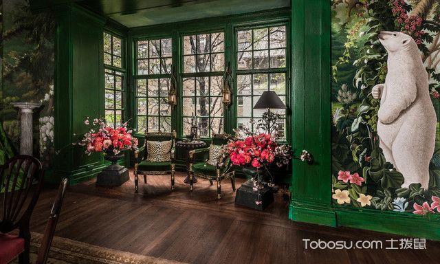 客厅绿色细节混搭风格装修效果图