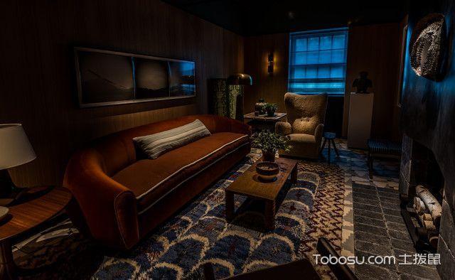 客厅咖啡色细节混搭风格装潢图片
