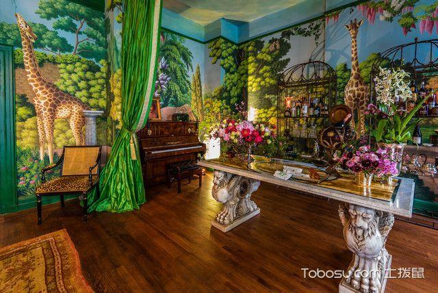 客厅绿色细节混搭风格装修设计图片