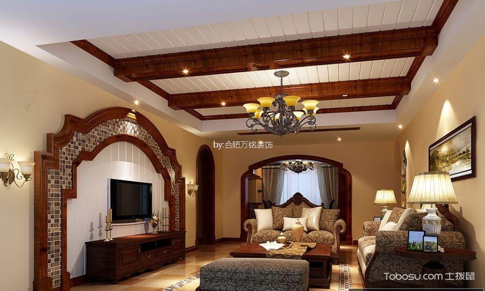 绿地滨湖国际花都133㎡美式风格三居室装修效果图