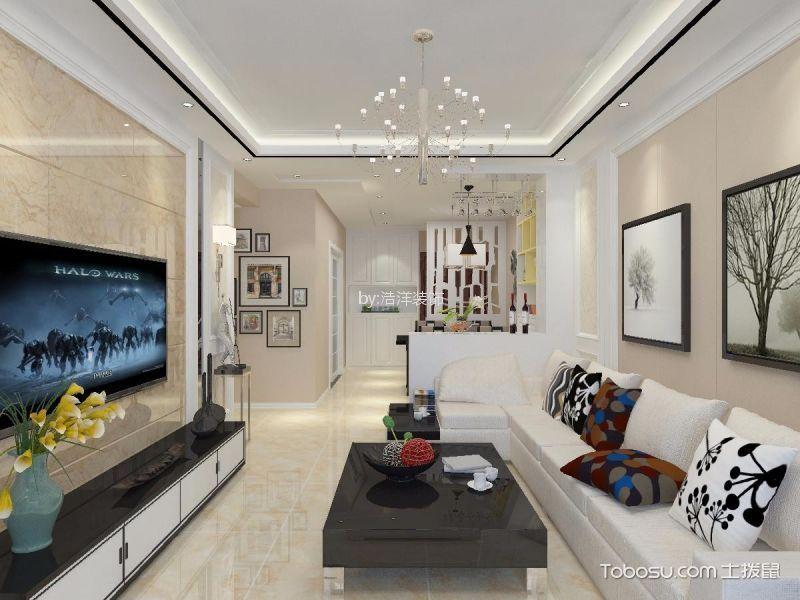 西安伟业工馆100平简约风格二居室装修效果图