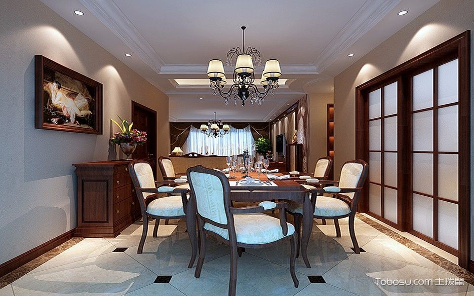 餐厅 吊顶_禹洲天境110平方美式三居室装修效果图