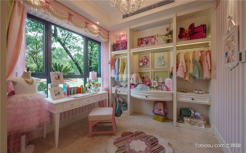 儿童房粉色窗帘美式风格装潢效果图
