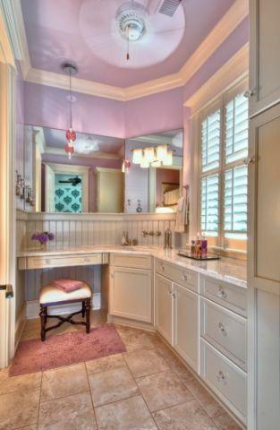 儿童房粉色背景墙混搭风格装潢设计图片