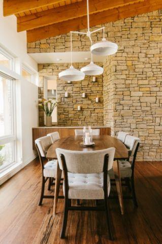 餐厅咖啡色背景墙现代风格装修图片