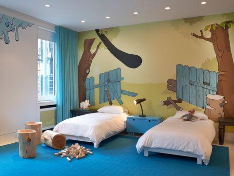 儿童房背景墙现代风格装潢设计图片
