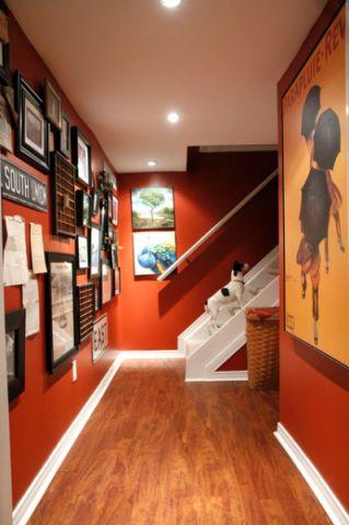 客厅红色走廊混搭风格装修图片