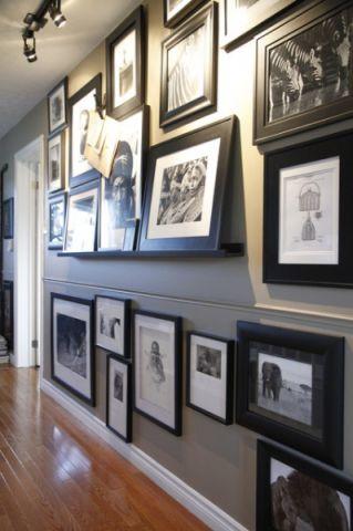 客厅白色照片墙混搭风格装潢图片