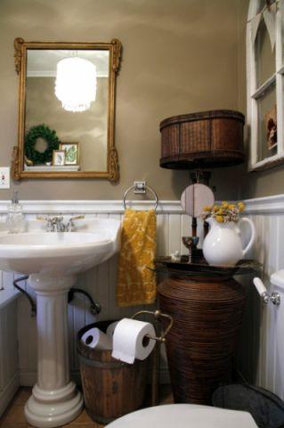 卫生间灰色背景墙混搭风格装潢设计图片