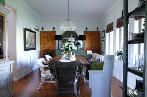 餐厅白色背景墙混搭风格装饰效果图