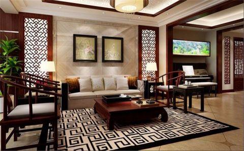新中式风格125平米三室两厅新房装修效果图