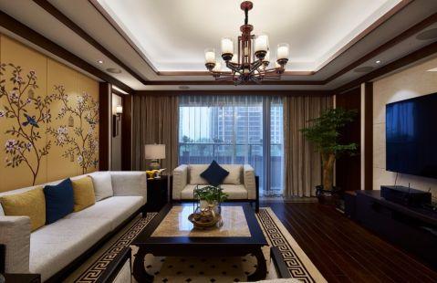 客厅窗帘新中式风格装潢效果图