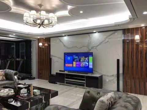客厅背景墙后现代风格装潢设计图片