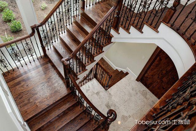 客厅红色楼梯美式风格装潢图片