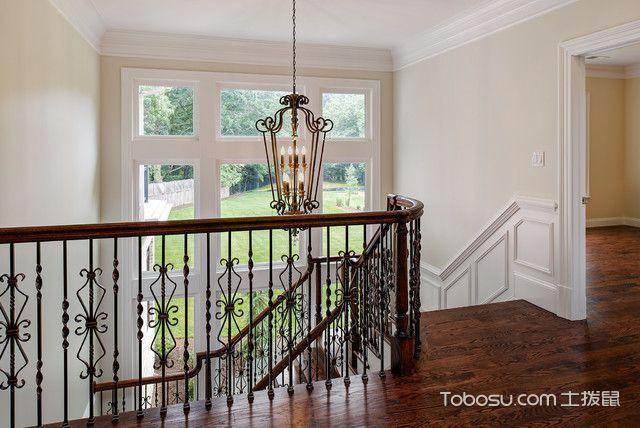 客厅红色楼梯美式风格装修设计图片