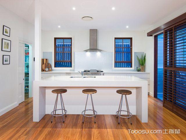 厨房白色吧台混搭风格效果图