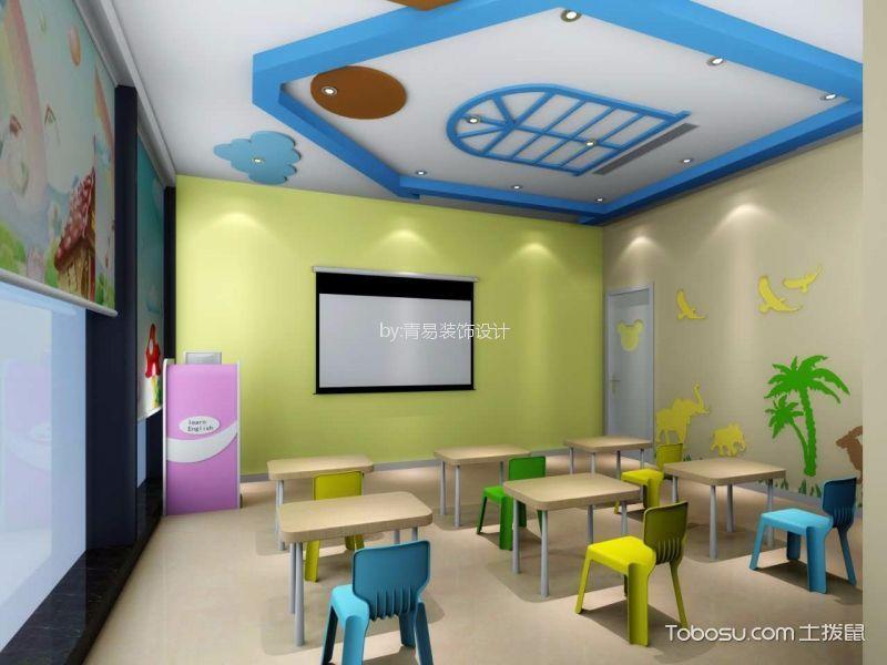 绍兴英语早教中心幼儿园教室绿色背景墙装修图片