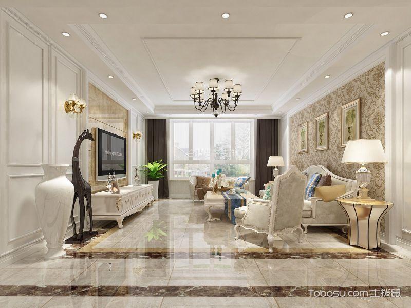 客厅 吊顶_大富山庄110平欧式风格三居室装修效果图