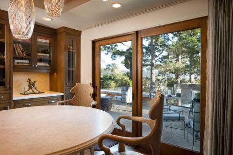 客厅咖啡色隐形门美式风格装潢设计图片