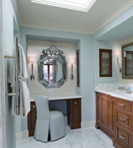卫生间白色背景墙美式风格装修效果图