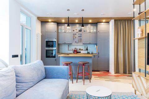 厨房蓝色背景墙现代风格效果图