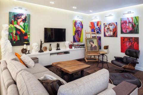 客厅彩色背景墙现代风格装潢图片