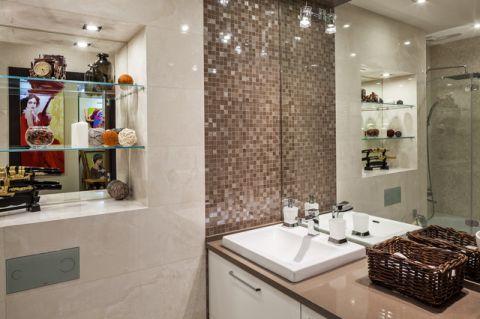 卫生间彩色背景墙现代风格装修设计图片