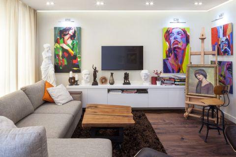客厅灰色榻榻米现代风格装饰设计图片