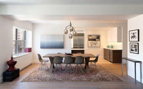 餐厅白色背景墙现代风格装潢设计图片