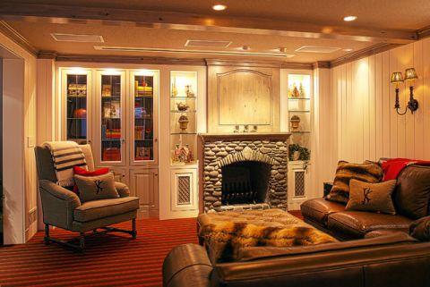 书房地下室美式风格装潢设计图片