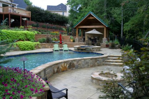 泳池现代风格装饰设计图片