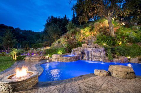 泳池混搭风格装饰效果图