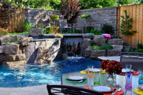 外景泳池美式风格装潢设计图片