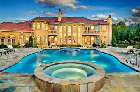 外景泳池美式风格装潢效果图
