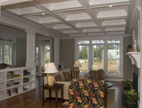 客厅白色吊顶混搭风格装修设计图片