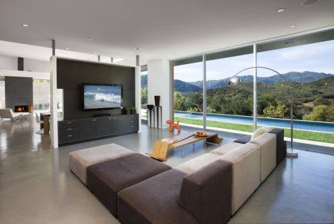 客厅白色背景墙现代风格装修图片
