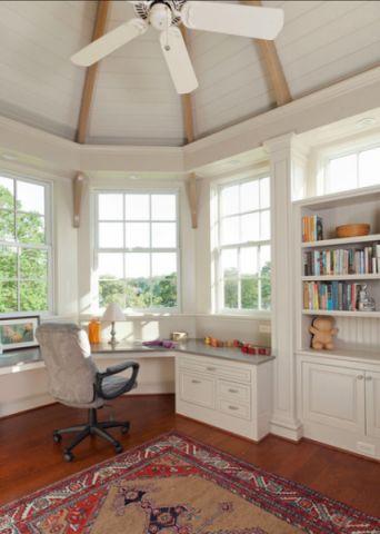 书房白色书桌简欧风格效果图