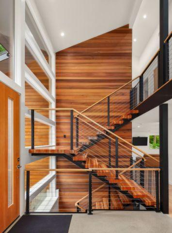 客厅黄色楼梯现代风格装饰图片