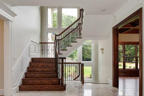 客厅白色楼梯美式风格装修图片