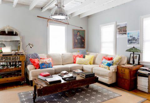 客厅白色背景墙混搭风格装潢图片