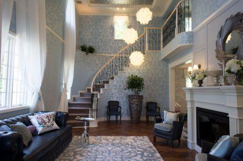 客厅咖啡色楼梯混搭风格装饰图片
